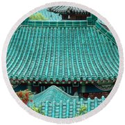 Temple Roofs Round Beach Towel