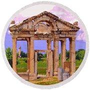 Temple Ruins At Ephesus Round Beach Towel