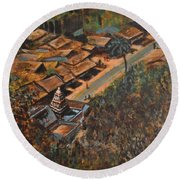 Temple Town Round Beach Towel