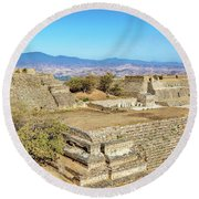 Temples In Monte Alban Round Beach Towel