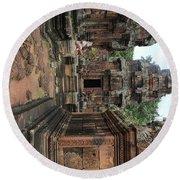 Temples Siem Reap Cambodia Worship  Round Beach Towel