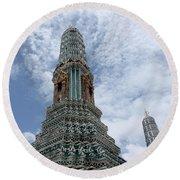 Temples, Thailand Round Beach Towel