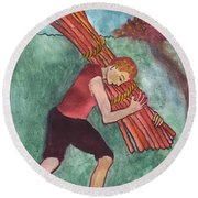 Ten Of Wands Illustrated Round Beach Towel