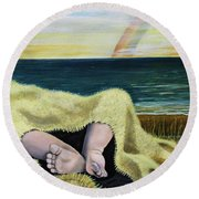 Ten Precious Toes Round Beach Towel