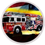 Ten Truck Fdny Round Beach Towel