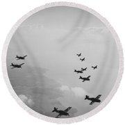 Ten Wildcats In Flight Over The Coast  Round Beach Towel