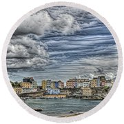 Tenby Harbour Texture Effect Round Beach Towel