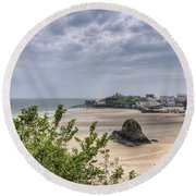 Tenby Pembrokeshire Low Tide Round Beach Towel