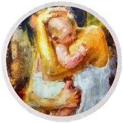 Tender Moment Round Beach Towel