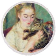 Tenderness Of A Woman Round Beach Towel