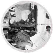 Tenement Life, Nyc, C1889 Round Beach Towel
