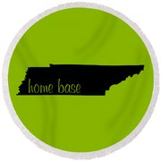 Tennessee Is Home Base Black Round Beach Towel