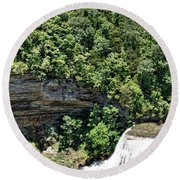 Tennessee River Gorge And Waterfall Panorama Round Beach Towel