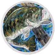 Tennessee River Largemouth Bass Round Beach Towel