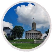 Tennessee State Capitol Nashville Round Beach Towel by Susanne Van Hulst