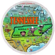 Tennessee Usa Cartoon Map Round Beach Towel