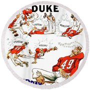 Tennessee Versus Duke 1955 Football Program Round Beach Towel