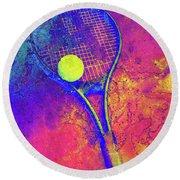 Tennis Art Version 1 Round Beach Towel