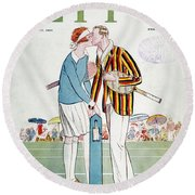 Tennis Court Romance, 1925 Round Beach Towel