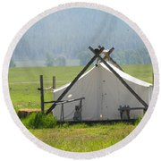 Tent Living Montana 2010 Round Beach Towel