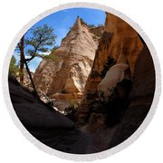 Tent Rocks Canyon Round Beach Towel