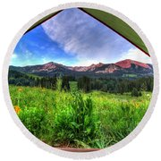 Tent View Round Beach Towel