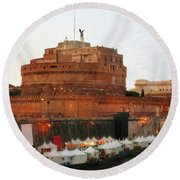 Tents Along The Tiber Round Beach Towel