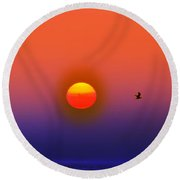 Tequila Sunrise Round Beach Towel