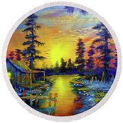 Tequila Sunrise In The Swamp Round Beach Towel