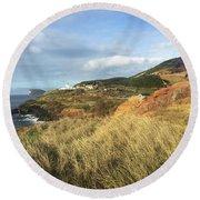 Terceira Island, Ilheus De Cabras And Lighthouse Of Ponta Das Contendas Round Beach Towel by Kelly Hazel
