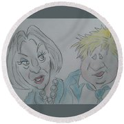 Teresa And Boris Round Beach Towel