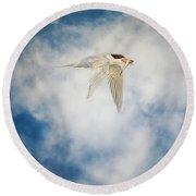 Tern In Flight With Fish Round Beach Towel