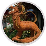 Dragon Statue Round Beach Towel