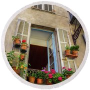 Terra Cotta Pots Outside Window In Old Town Nice, France Round Beach Towel