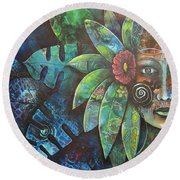 Terra Pacifica By Reina Cottier Nz Artist Round Beach Towel
