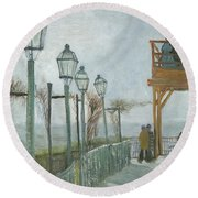 Terrace And Observation Deck At The Moulin De Blute Fin Round Beach Towel