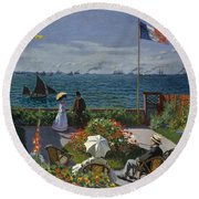Terrace At Sainte-adresse Round Beach Towel