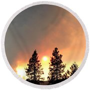 Terrace Mountain Fire 2  Round Beach Towel