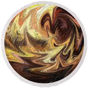 Terrestrial Flames Abstract  Round Beach Towel