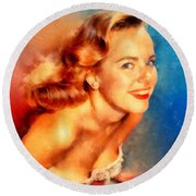 Terry Moore, Vintage Hollywood Actress Round Beach Towel