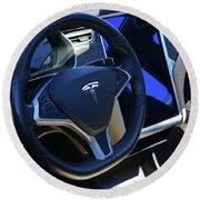 Tesla S85d Cockpit Round Beach Towel