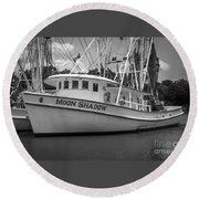 Moon Shadow Working Boat Round Beach Towel