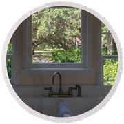 Window Over The Sink Round Beach Towel