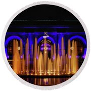 Fountain At Union Station Round Beach Towel