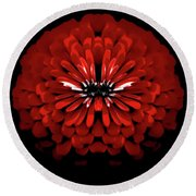 Test Red Abstract Flower 3 Round Beach Towel