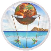 Tethered Sphere Round Beach Towel