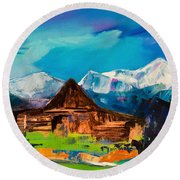 Teton Barn  Round Beach Towel by Elise Palmigiani
