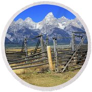 Teton Corral 2 Round Beach Towel