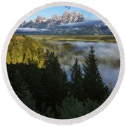 Teton Morning Snake River Overlook Round Beach Towel