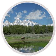 Teton Reflection With Buffalo Round Beach Towel